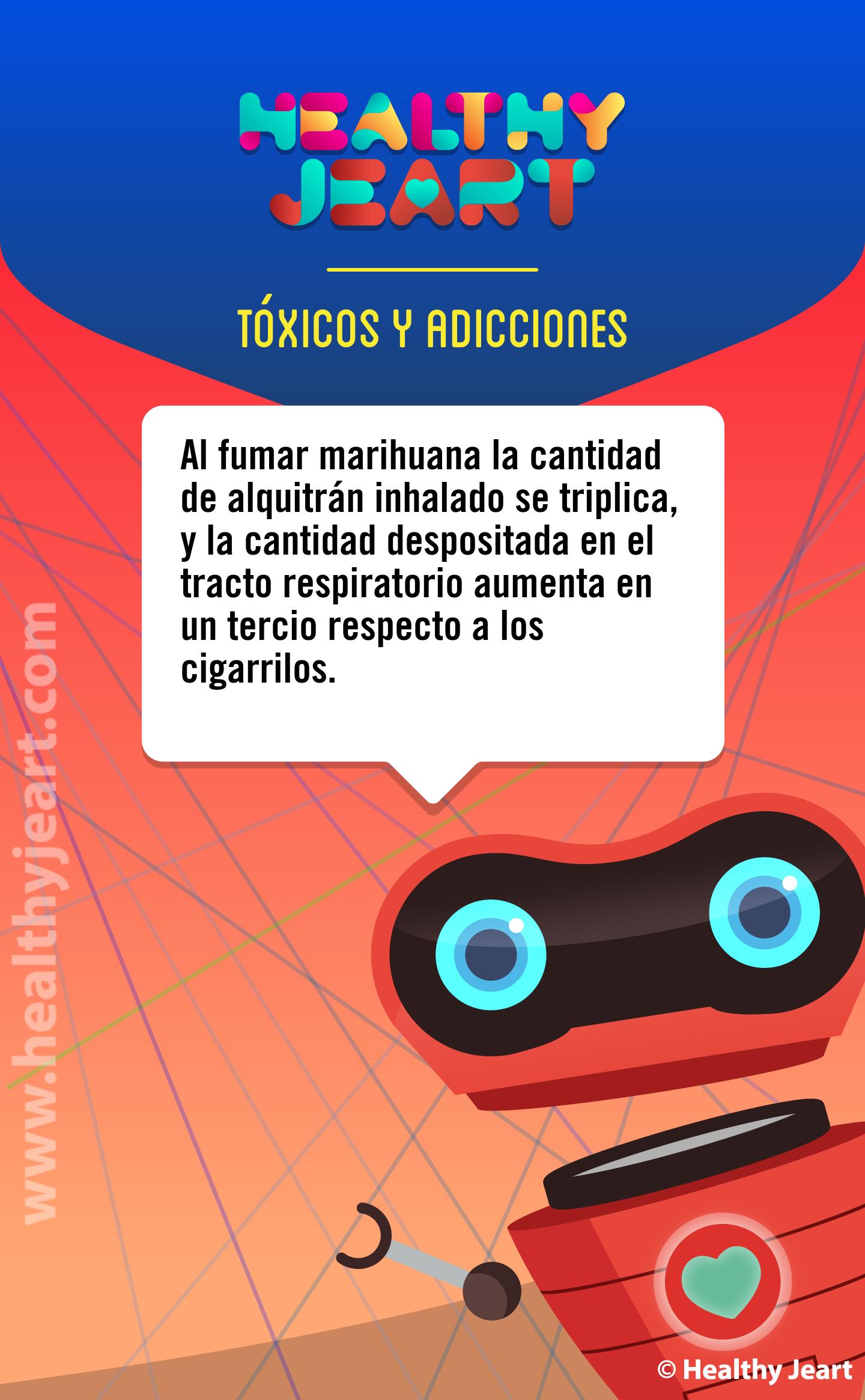 Al fumar marihuana la cantidad de alquitrán inhalado se triplica, y la cantidad depositada en el tracto respiratorio aumenta en un tercio respecto a los cigarrillos.