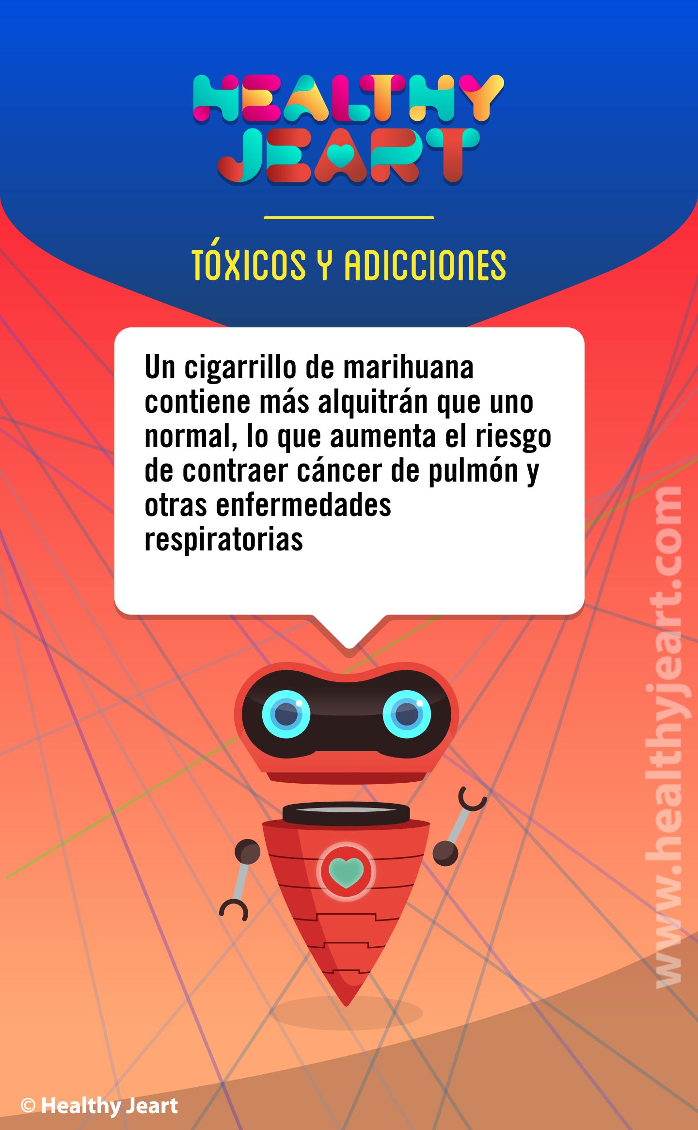 Un cigarrillo de marihuana contiene más alquitran que uno normal, lo que aumenta el riesgo de contraer cáncer de pulmón y otras enfermedades respiratorias